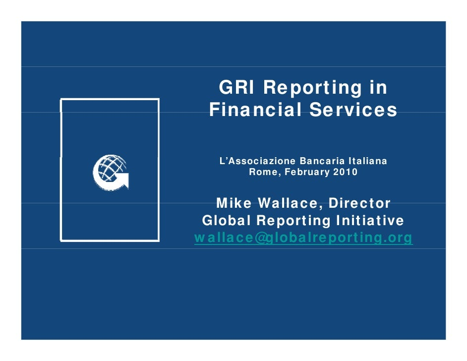 GRI Reporting in Financial Services - Feb 10
