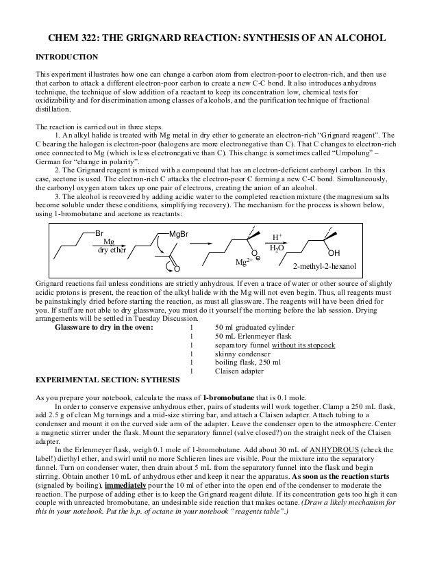 preparation of alkane using grignard sythesis