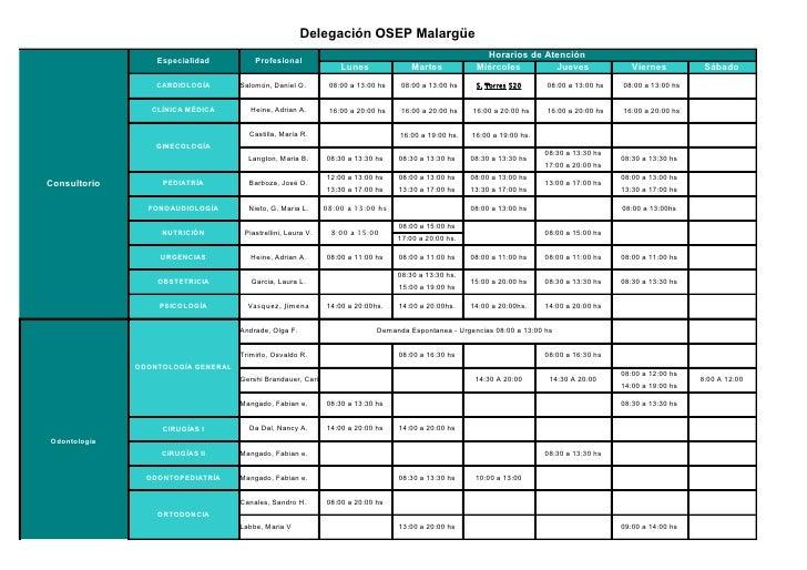 Horarios de OSEP. Delegación Malargue