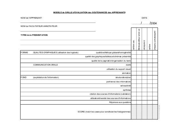Grilles d'évaluations 2004
