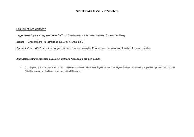 GRILLE D'ANALYSE - RESIDENTSLes Structures visitées :Logements foyers 4 septembre – Belfort : 3 retraitées (3 femmes seule...