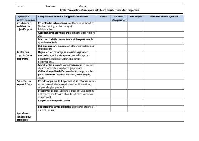 Grille évaluation diaporama