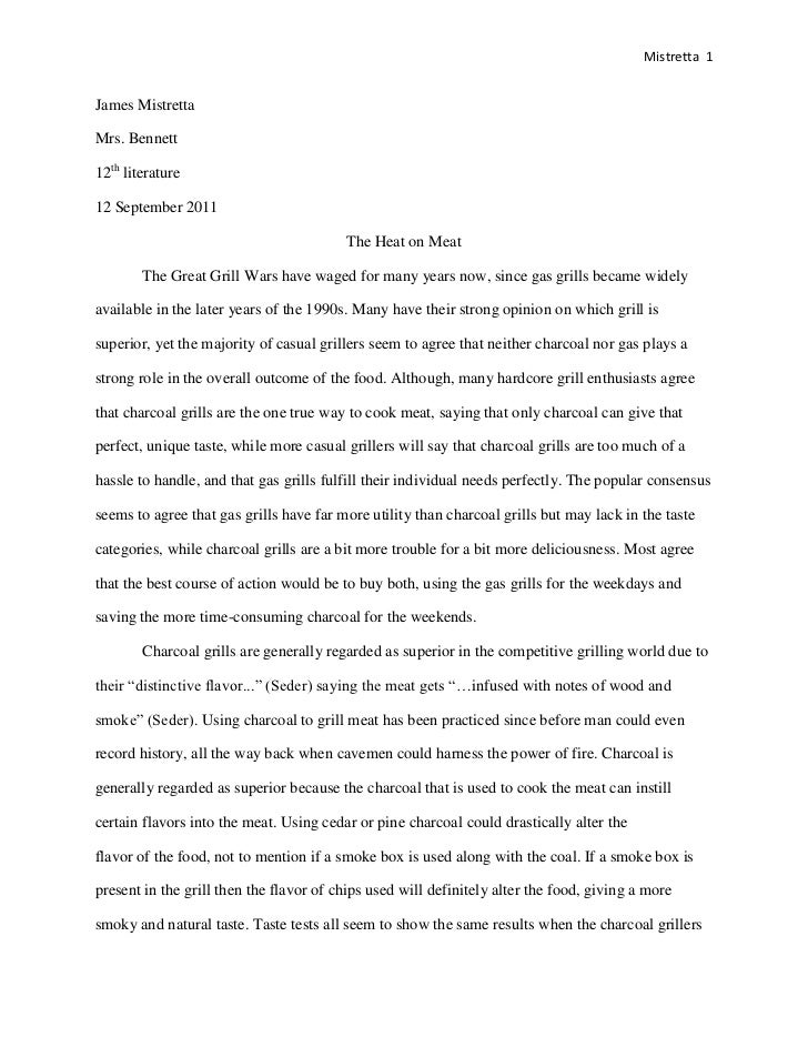 Senior Project Grilling Essay James Mistretta 2011-12