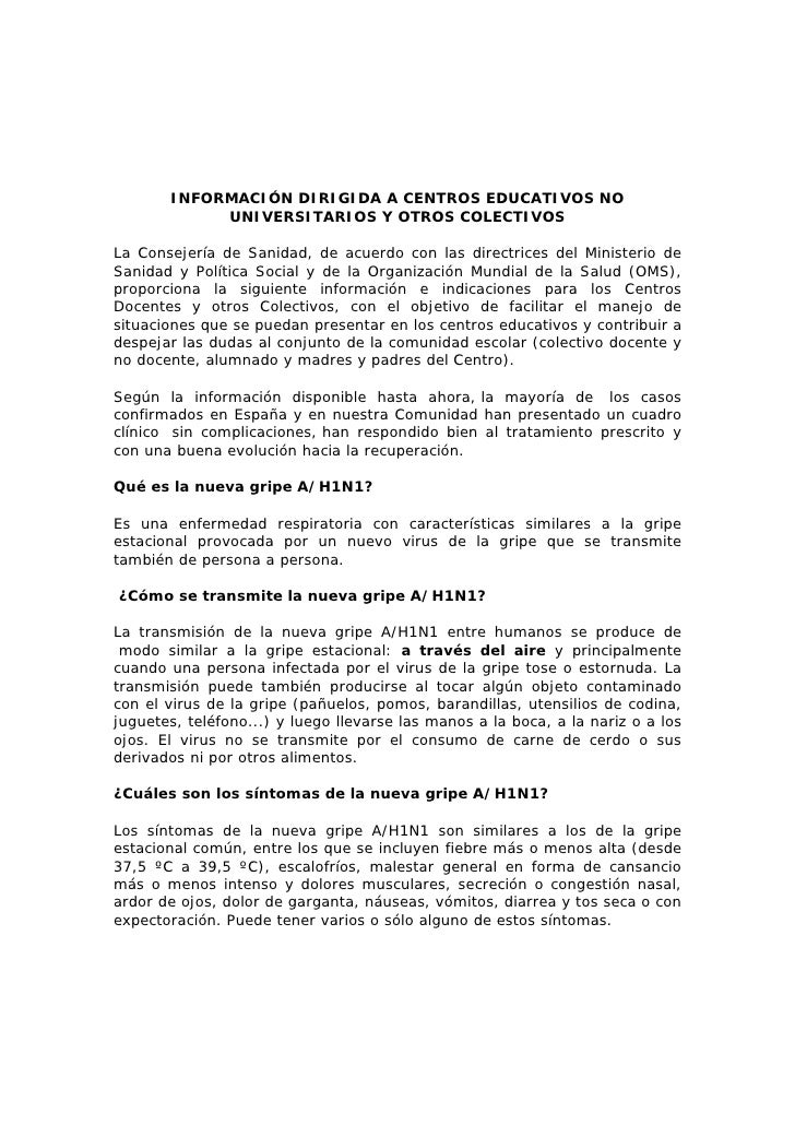 INFORMACIÓN DIRIGIDA A CENTROS EDUCATIVOS NO             UNIVERSITARIOS Y OTROS COLECTIVOS  La Consejería de Sanidad, de a...
