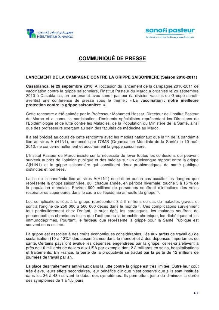 COMMUNIQUÉ DE PRESSE   LANCEMENT DE LA CAMPAGNE CONTRE LA GRIPPE SAISONNIERE (Saison 2010-2011)  Casablanca, le 29 septemb...