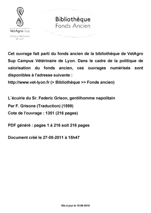 """A Bibliothèque Fonds Ancien VetAgro Sup Gompvî Whérino""""* de Lyon Cet ouvrage fait parti du fonds ancien de la bibliothèque..."""