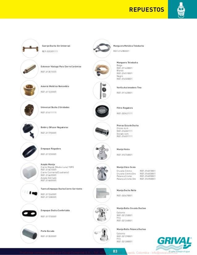 Grival 2012 catalogo plomeria 1 for Como cambiar el vastago de la ducha