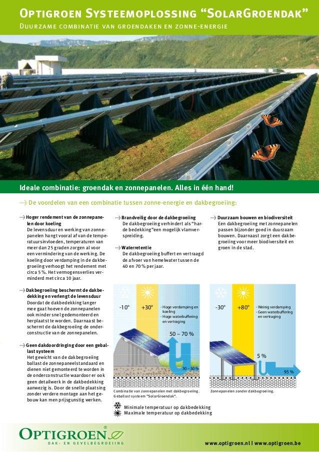 """Optigroen Systeemoplossing """"SolarGroendak""""Duurzame combinatie van groendaken en zonne-energieIdeale combinatie: groendak e..."""
