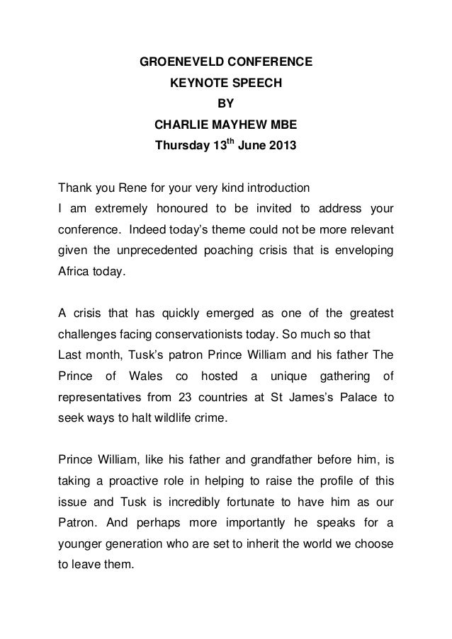 GROENEVELD CONFERENCEKEYNOTE SPEECHBYCHARLIE MAYHEW MBEThursday 13thJune 2013Thank you Rene for your very kind introductio...