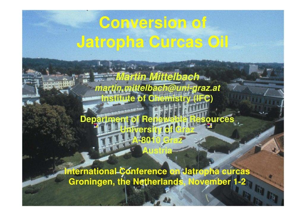 Conversion of Jatropha Curcas Oil into BioDiesel