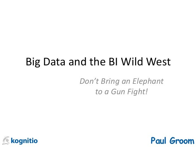 Big Data and the BI Wild West Don't Bring an Elephant to a Gun Fight! Paul Groom