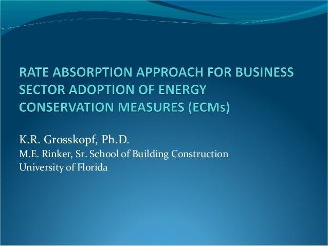 K.R. Grosskopf, Ph.D. M.E. Rinker, Sr. School of Building Construction University of Florida