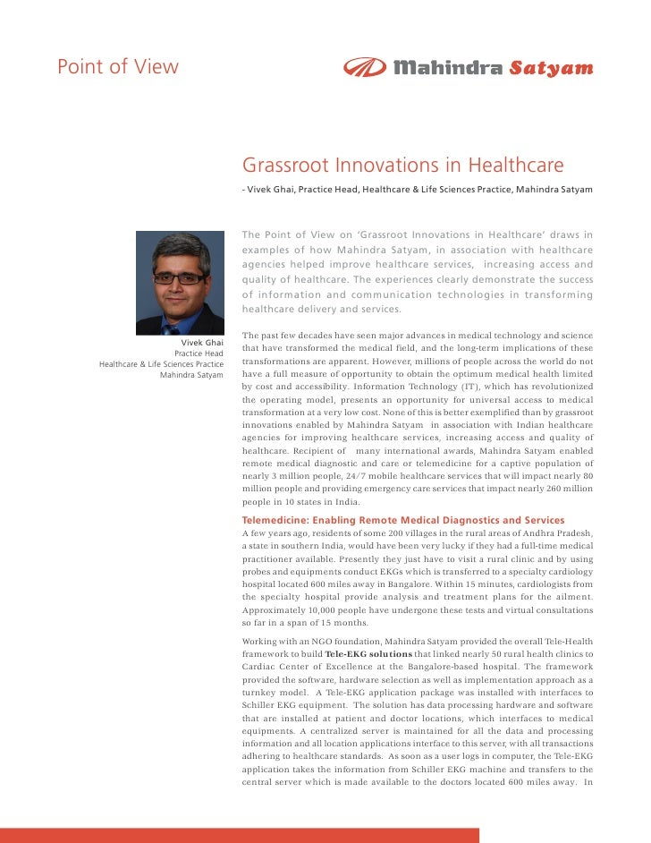 Grassroot Innovations in Healthcare by Vivek Ghai, Practice Head,Healthcare & Life Sciences Practice.