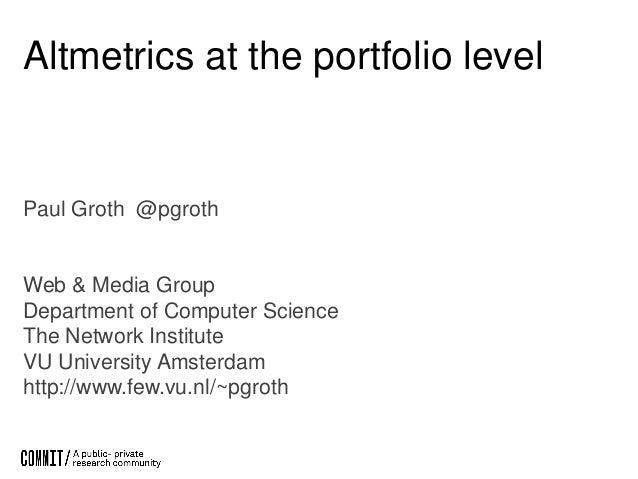 June 18 NISO Virtual Conference: Keynote Speaker: Altmetrics at the Portfolio Level