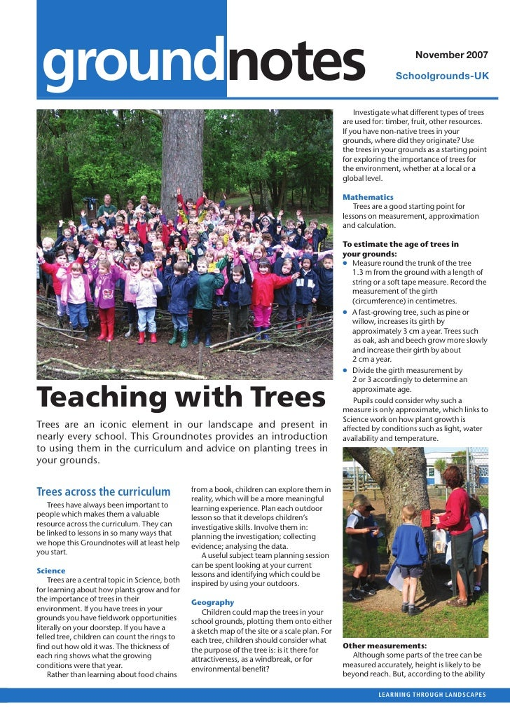 Teaching with Trees: Outdoors Learning at School Grounds