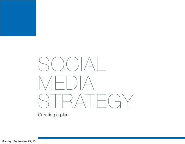 SOCIAL MEDIA STRATEGYCreating a plan. Monday, September 23, 13