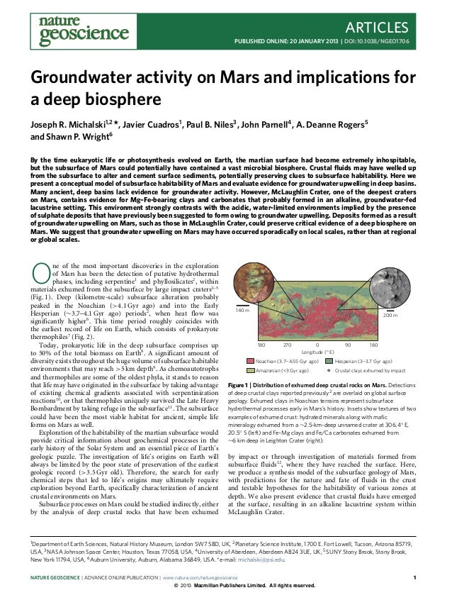 Groundwater activity on_mars_and implications_for_a_deep_biosphere