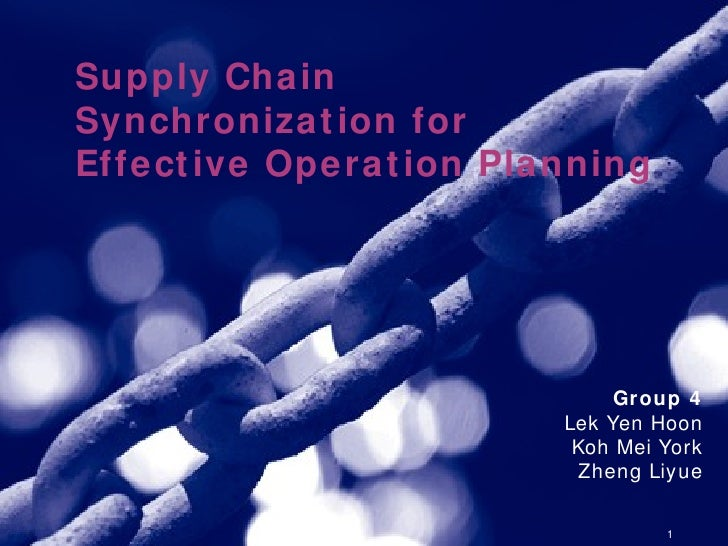 <ul><ul><li>Supply Chain Synchronization for Effective Operation Planning </li></ul></ul>Group 4 Lek Yen Hoon Koh Mei York...