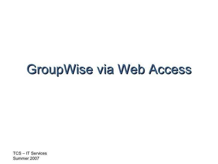 GroupWise via Web Access