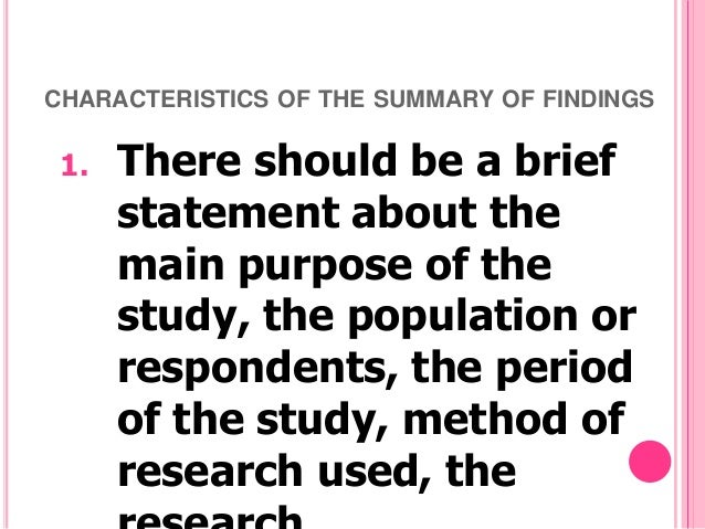Findings in a research paper