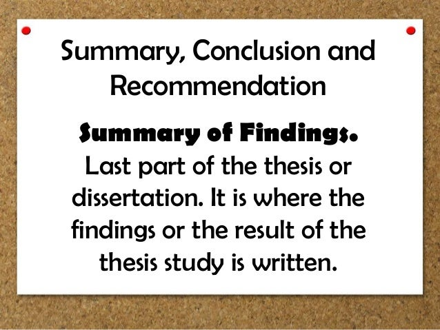 Thesis findings