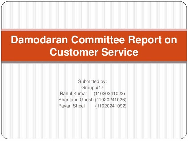 Damodaran Committee Report on      Customer Service                Submitted by:                 Group #17        Rahul Ku...