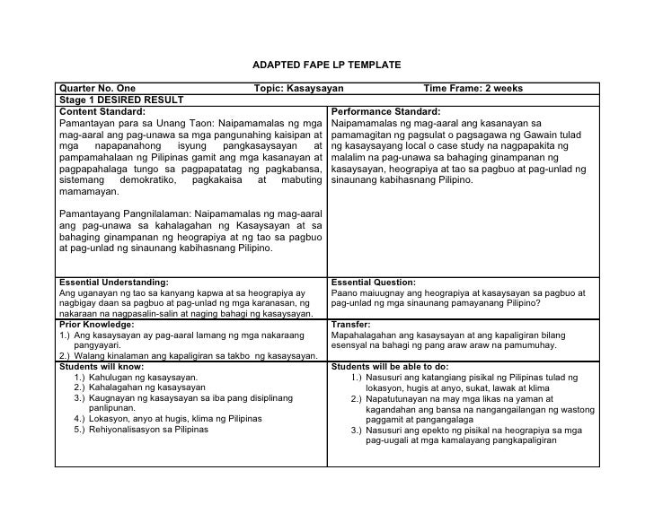 ADAPTED FAPE LP TEMPLATE  Quarter No. One                         Topic: Kasaysayan                 Time Frame: 2 weeks St...