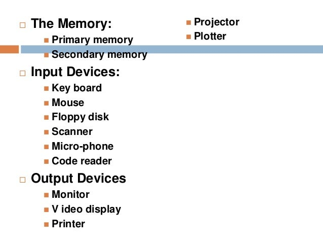 Output devices examples components of computer system and input output