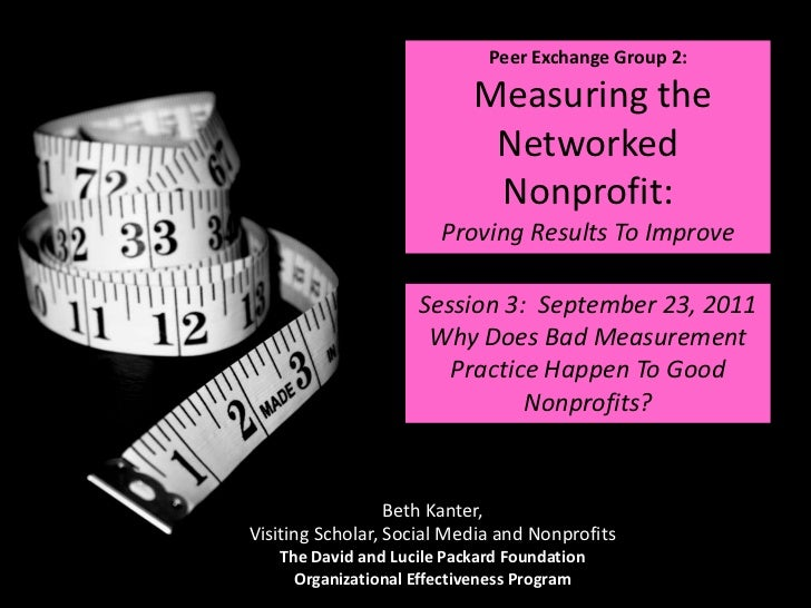 Peer Exchange Group 2:  Measuring the Networked Nonprofit:  Proving Results To Improve<br />Session 3:  September 23, 2011...