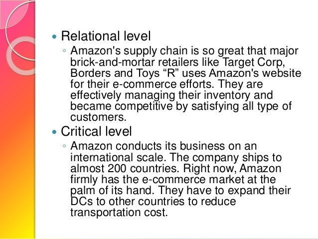 case study of amazon supply chain Case study analysis of zappos  developing a supply chain to deliver wow  its supply chain management allows zappos to provide outstanding service to its.