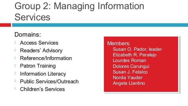 Group 2: Managing Information Services Domains:  Access Services  Readers' Advisory  Reference/Information  Patron Tra...