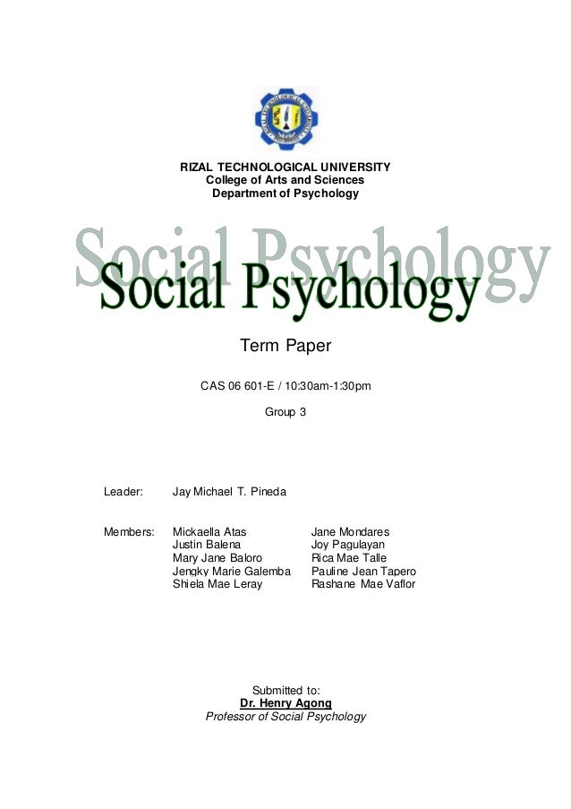 Term paper for psychology