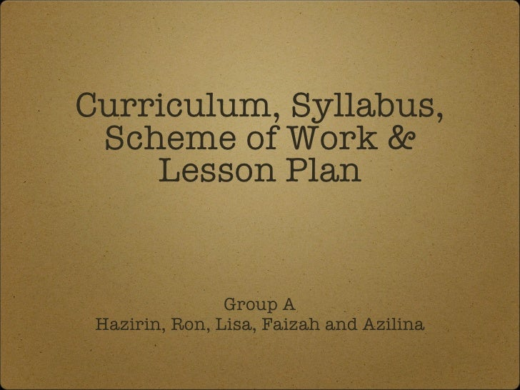 What is the difference between curriculum, syllabus and schedule?