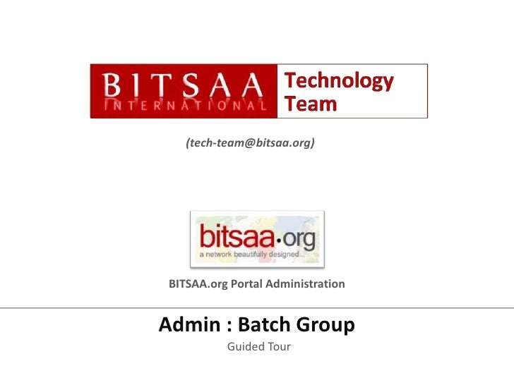 BITSAA.org Portal Administration - Group Admin : Batches