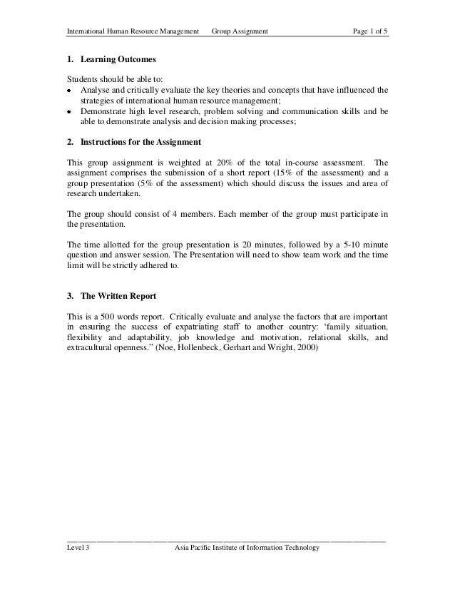 International Human Resource Management   Group Assignment                      Page 1 of 51. Learning OutcomesStudents sh...