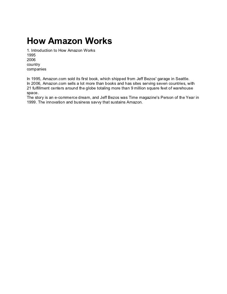 How Amazon Works1. Introduction to How Amazon Works19952006countrycompaniesIn 1995, Amazon.com sold its first book, which ...