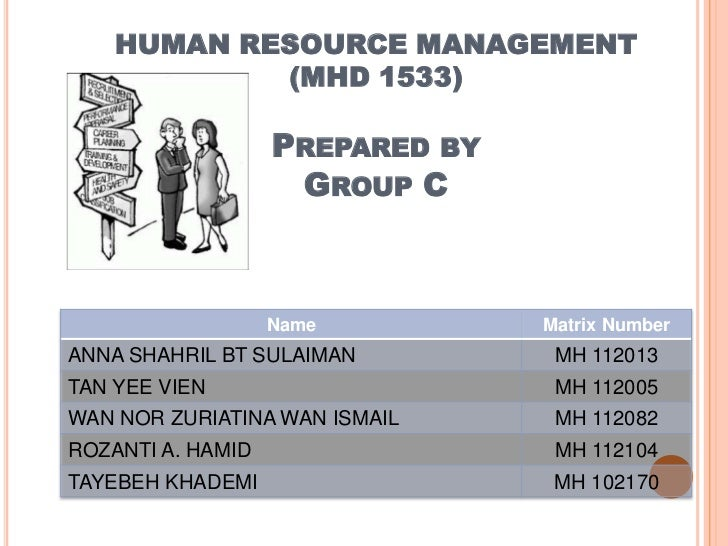 HUMAN RESOURCE MANAGEMENT            (MHD 1533)                   PREPARED BY                    GROUP C                  ...