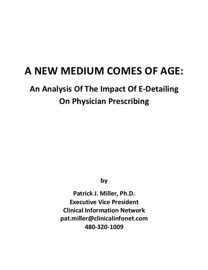 Group DCA Meta Analysis White Paper - Impact of E-Detailing On Physician Prescribing