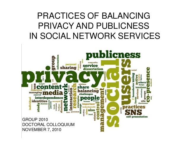 PRACTICES OF BALANCING PRIVACY AND PUBLICNESS IN SOCIAL NETWORK SERVICES GROUP 2010 DOCTORAL COLLOQUIUM NOVEMBER 7, 2010
