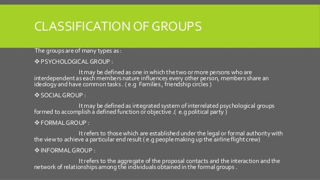 Classification of Groups The