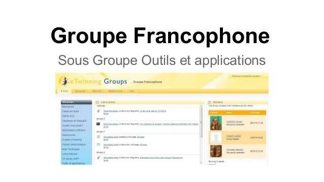 Groupe Francophone Sous Groupe Outils et applications
