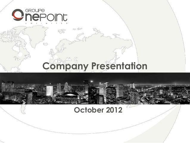Company PresentationOctober 2012