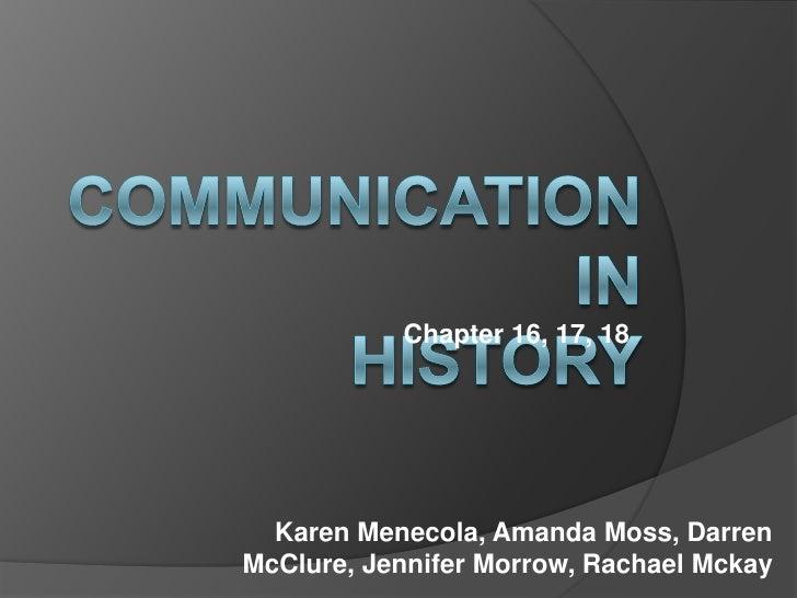 Chapter 16, 17, 18       Karen Menecola, Amanda Moss, Darren McClure, Jennifer Morrow, Rachael Mckay