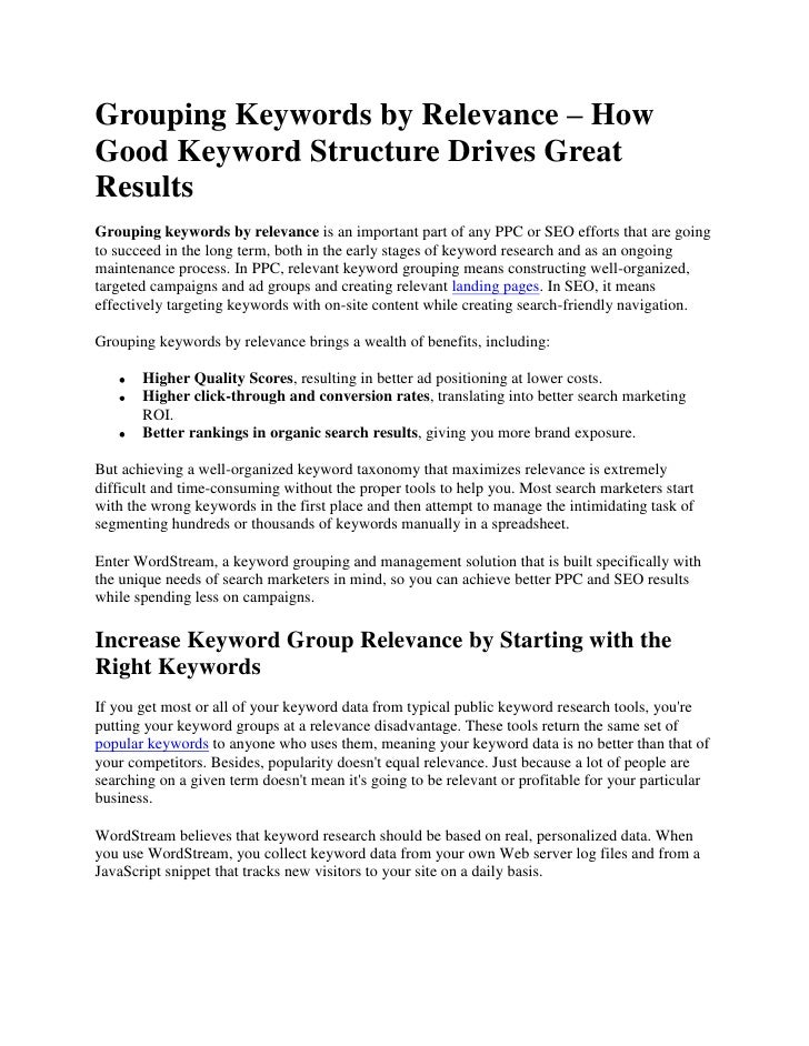 Grouping Keywords By Relevance