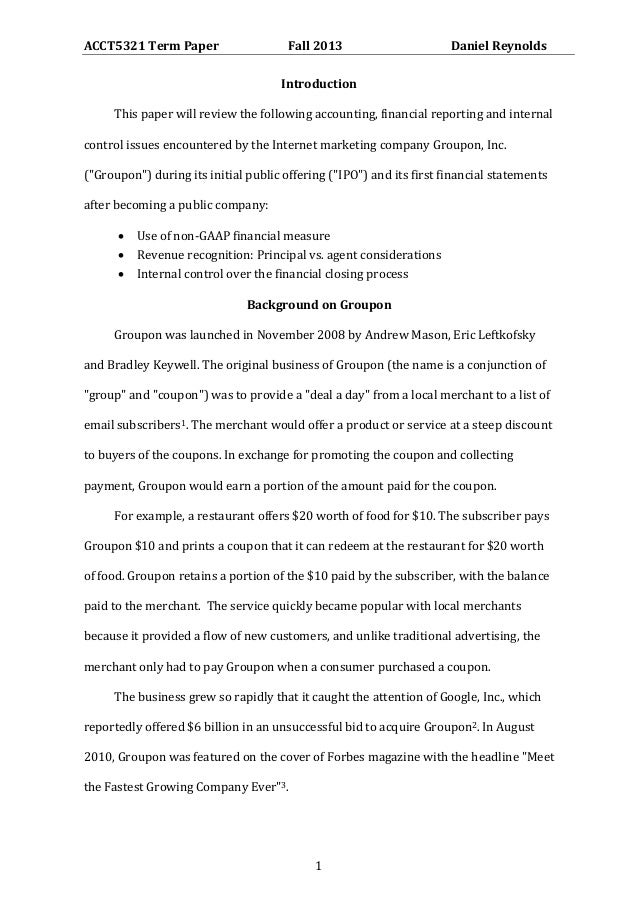 ACCT5321 Term Paper  Fall 2013  Daniel Reynolds  Introduction This paper will review the following accounting, financial r...