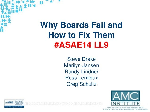 #ASAE14 Why Boards Fail and How to Fix Them #ASAE14 LL9 Steve Drake Marilyn Jansen Randy Lindner Russ Lemieux Greg Schultz