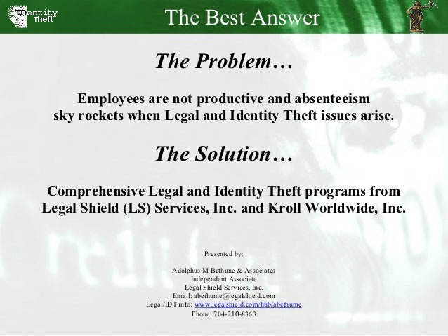 The Best Answer                  The Problem…     Employees are not productive and absenteeism sky rockets when Legal and ...