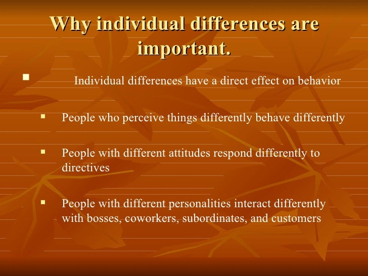 personality and individual differences the effect Personalities of individual members might affect team performance in general   deal of psychological research on the individual difference-adaptability relation.