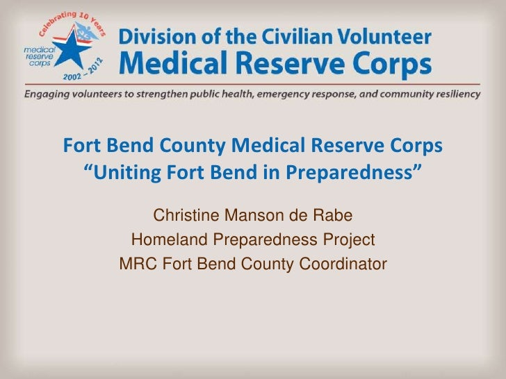 Medical Reserve Corps in Fort Bend County