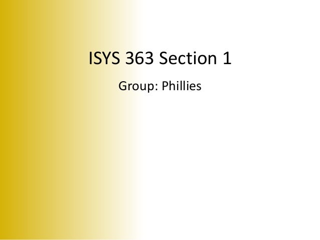 ISYS 363 Section 1 Group: Phillies